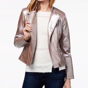 Bar III Metallic Faux-Leather Moto Jacket